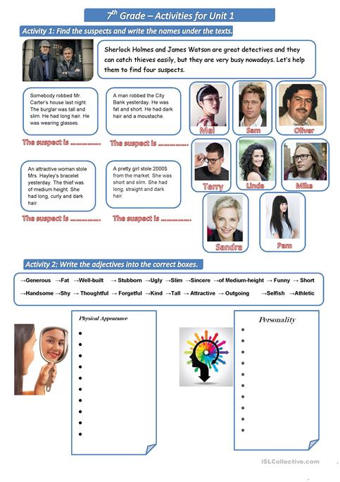 Physical Appearance & Personality Worksheet