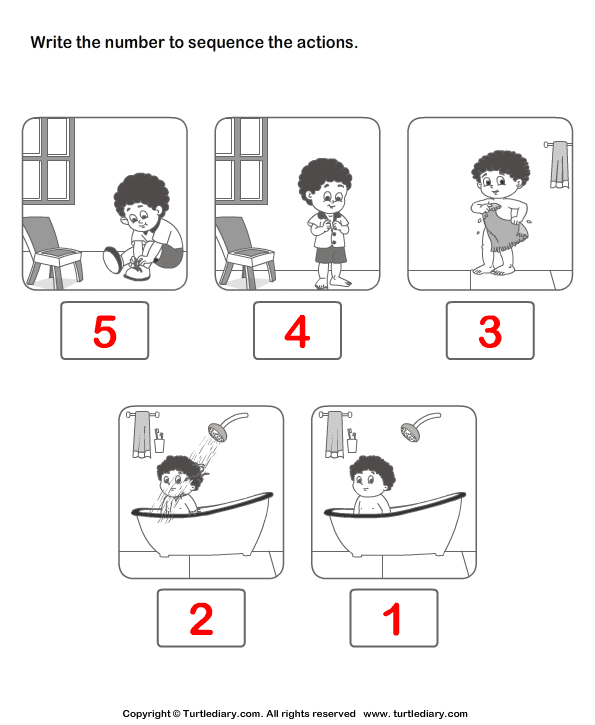 Picture Sequencing Boy Dressing Up Worksheet