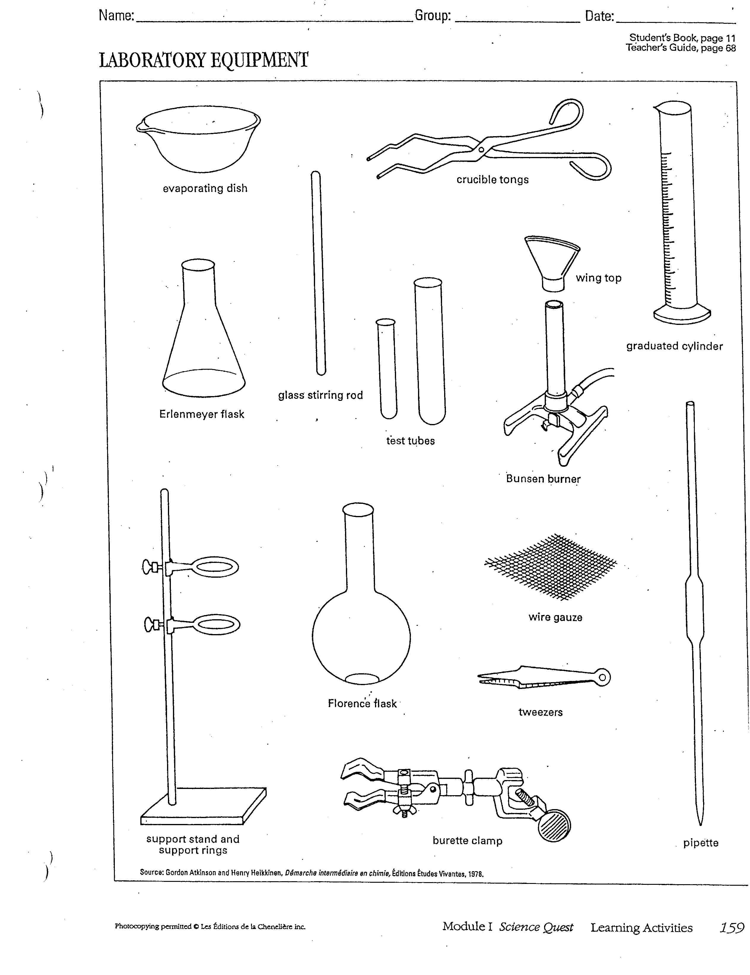 Pin Laboratory Equipment Worksheet On Free Worksheets Samples, Laboratory