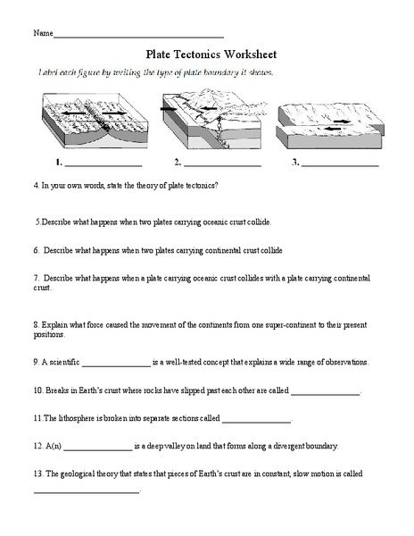 Plate Tectonics For Kids Worksheets The Best Worksheets Image