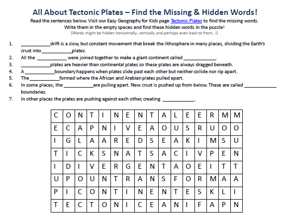 Plate Tectonics Worksheet Plate Tectonics Worksheet Image Of