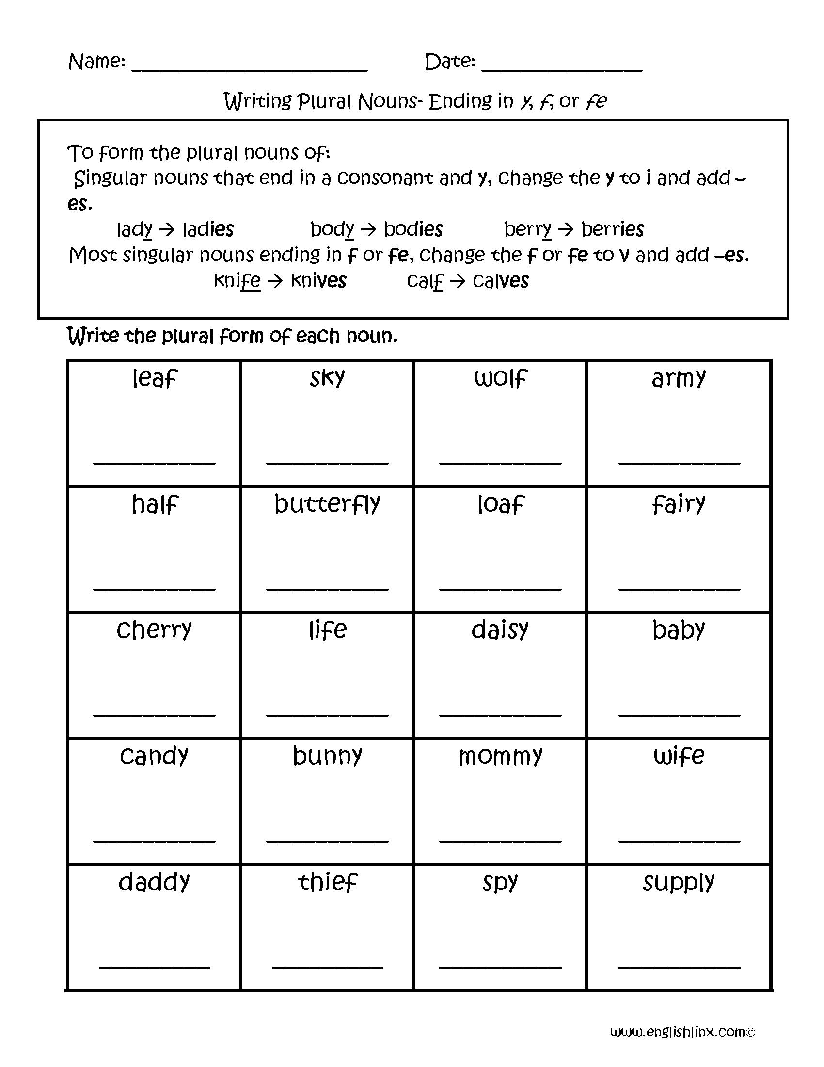 Plural Nouns Worksheet 2nd Grade 709816