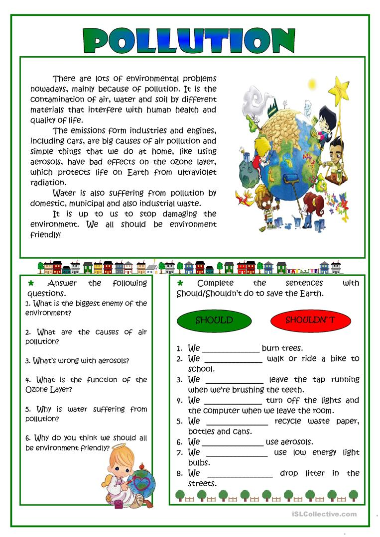 Pollution Worksheets 1265687