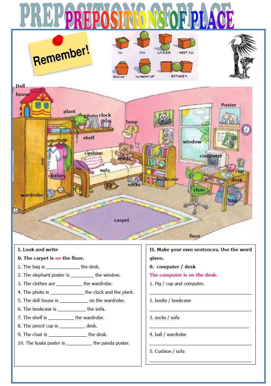 Prepositions Of Place Worksheets For Kindergarten Pdf 434007
