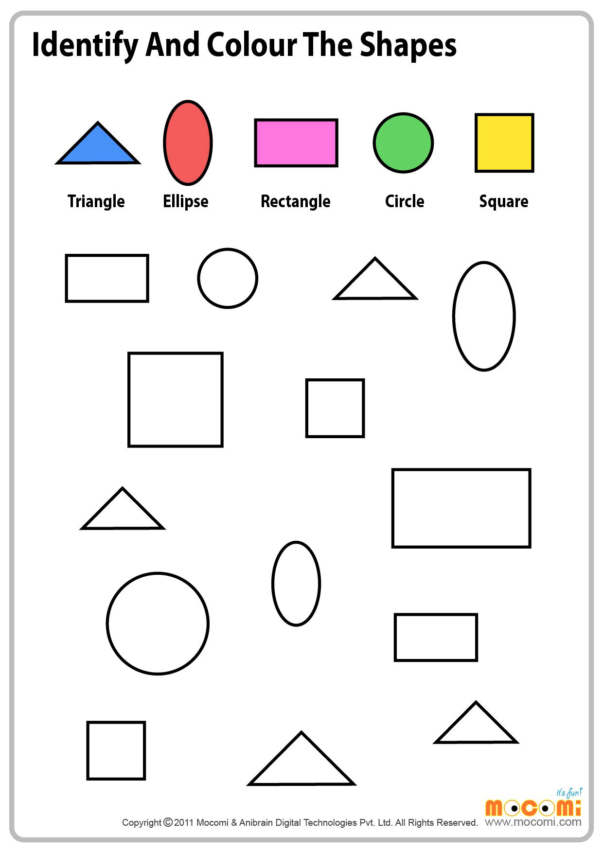 Preschool Color Shapes Worksheets 362634