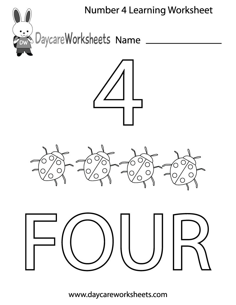 Preschool Number 4 Worksheets The Best Worksheets Image Collection