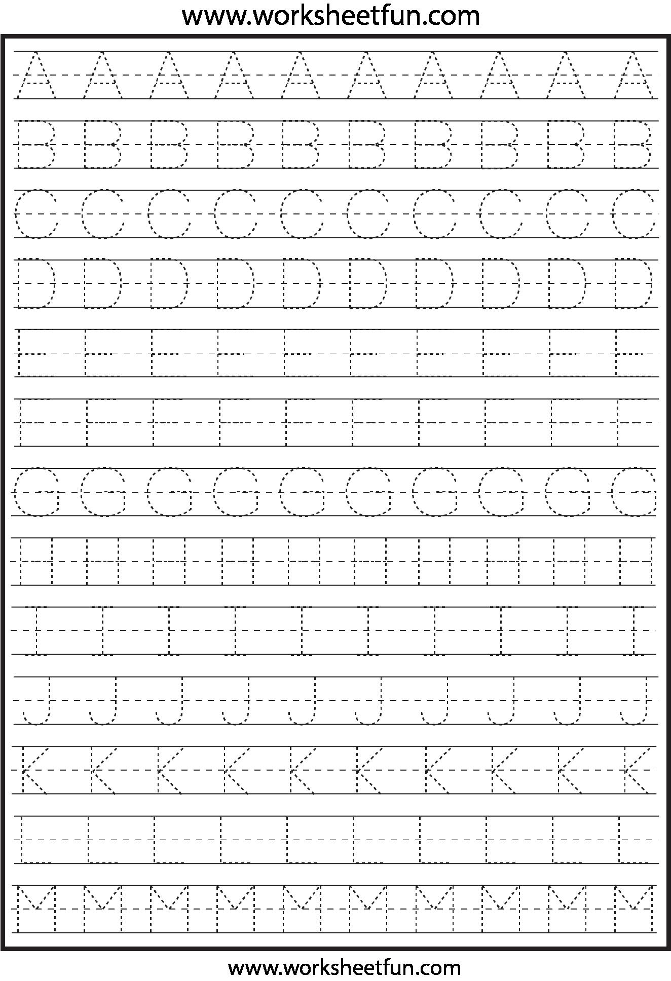 Preschool Traceable Letters Worksheets 55799