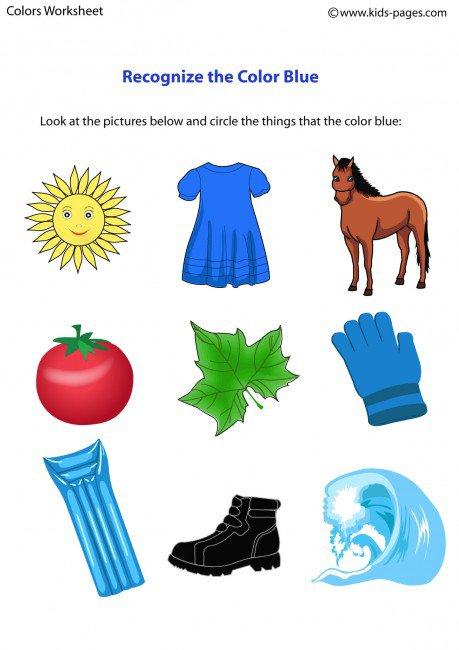 Preschool Worksheets Color Blue 1257160