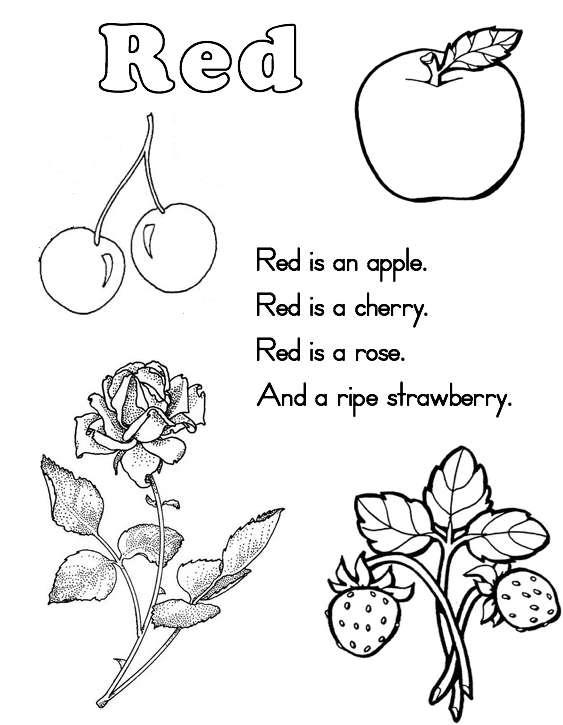 Preschool Worksheets Color Red 1184783