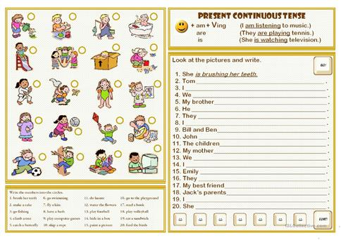 Present Continuous Tense Worksheet