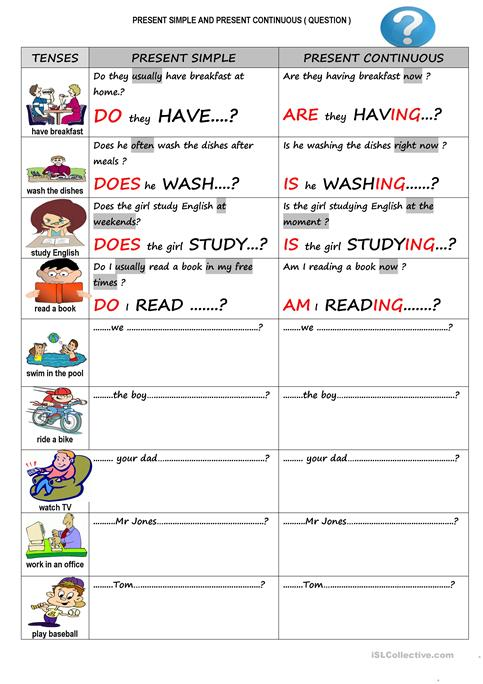 Present Simple And Present Continuous Yes No Questions Worksheet