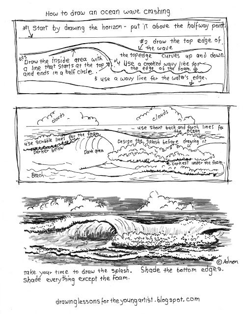 Printable How To Draw Ocean Waves Worksheet (how To Draw