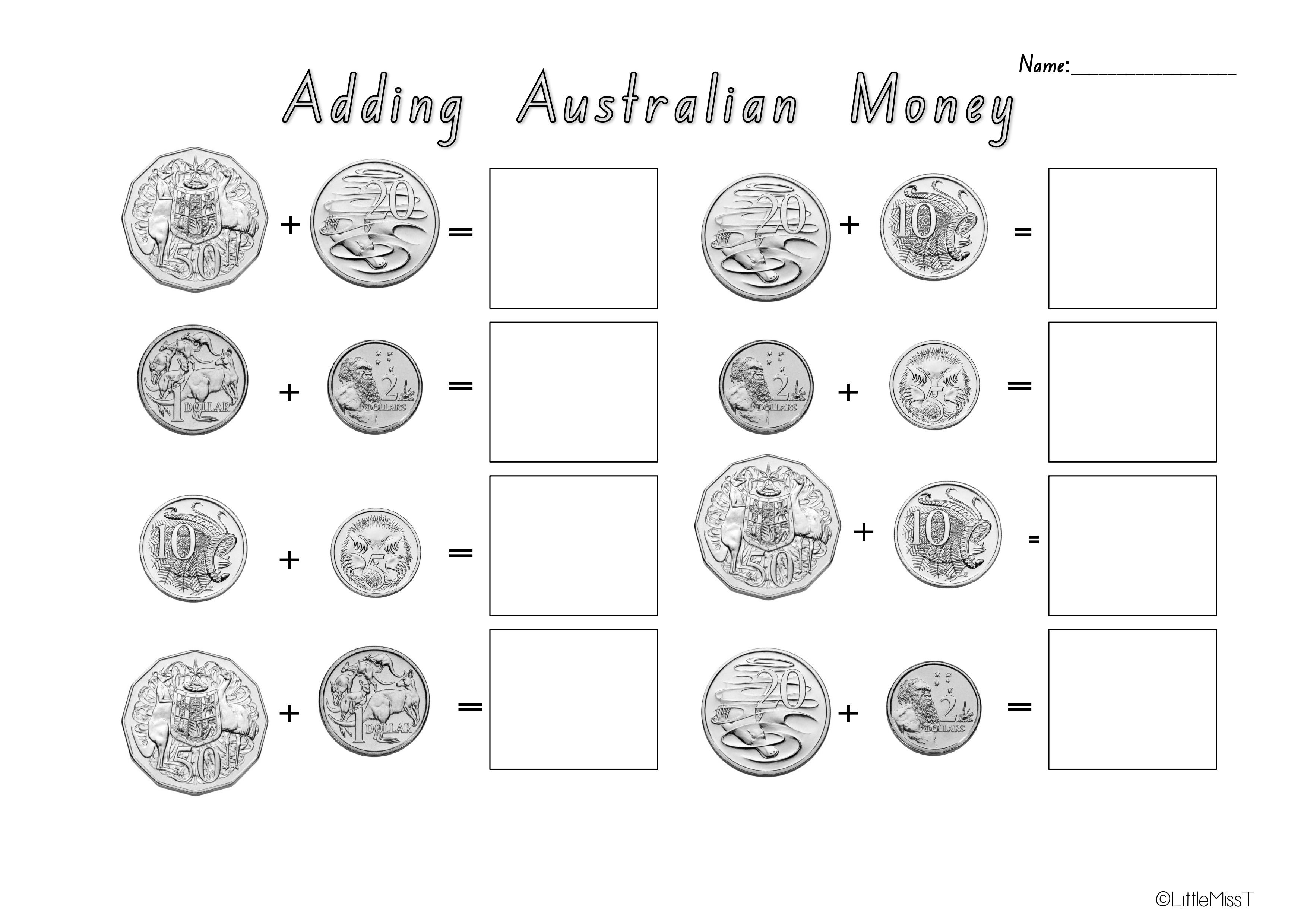 Printable Maths Worksheets Money Australia 371674