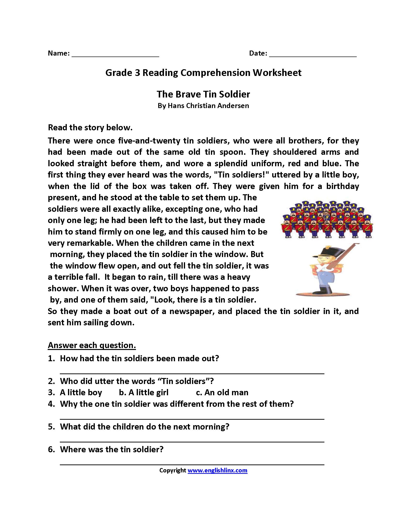 Printable Worksheets For 3rd Grade Reading 651630