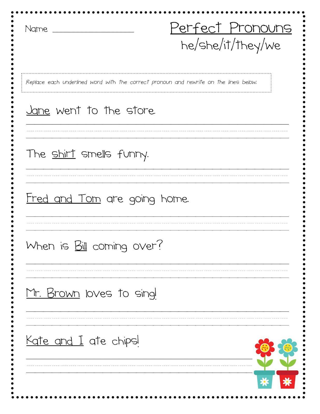 Pronoun I Worksheet For 1st Grade 751875