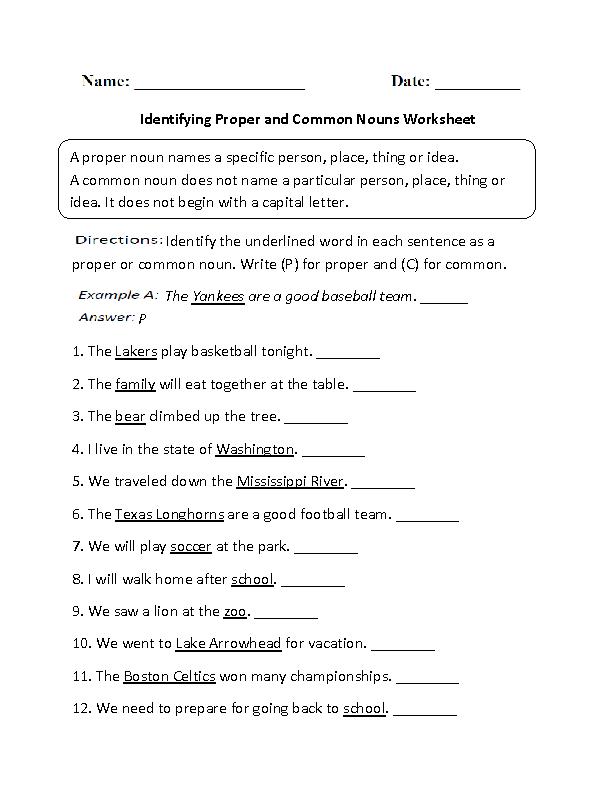 Proper Noun Worksheet Images