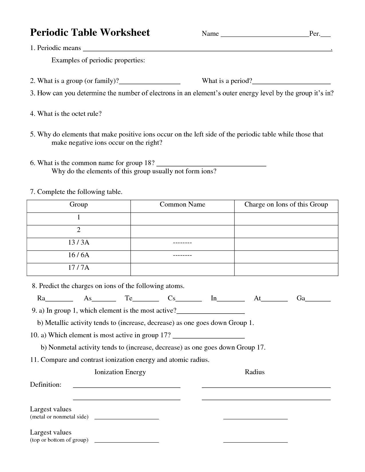 Properties Of Atoms And The Periodic Table Worksheet Answers The