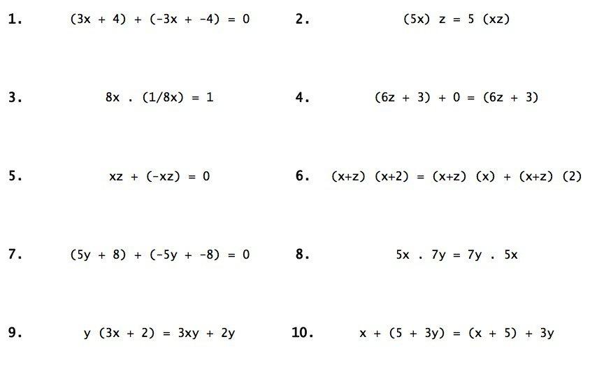 Properties Of Real Numbers Practice The Best Worksheets Image
