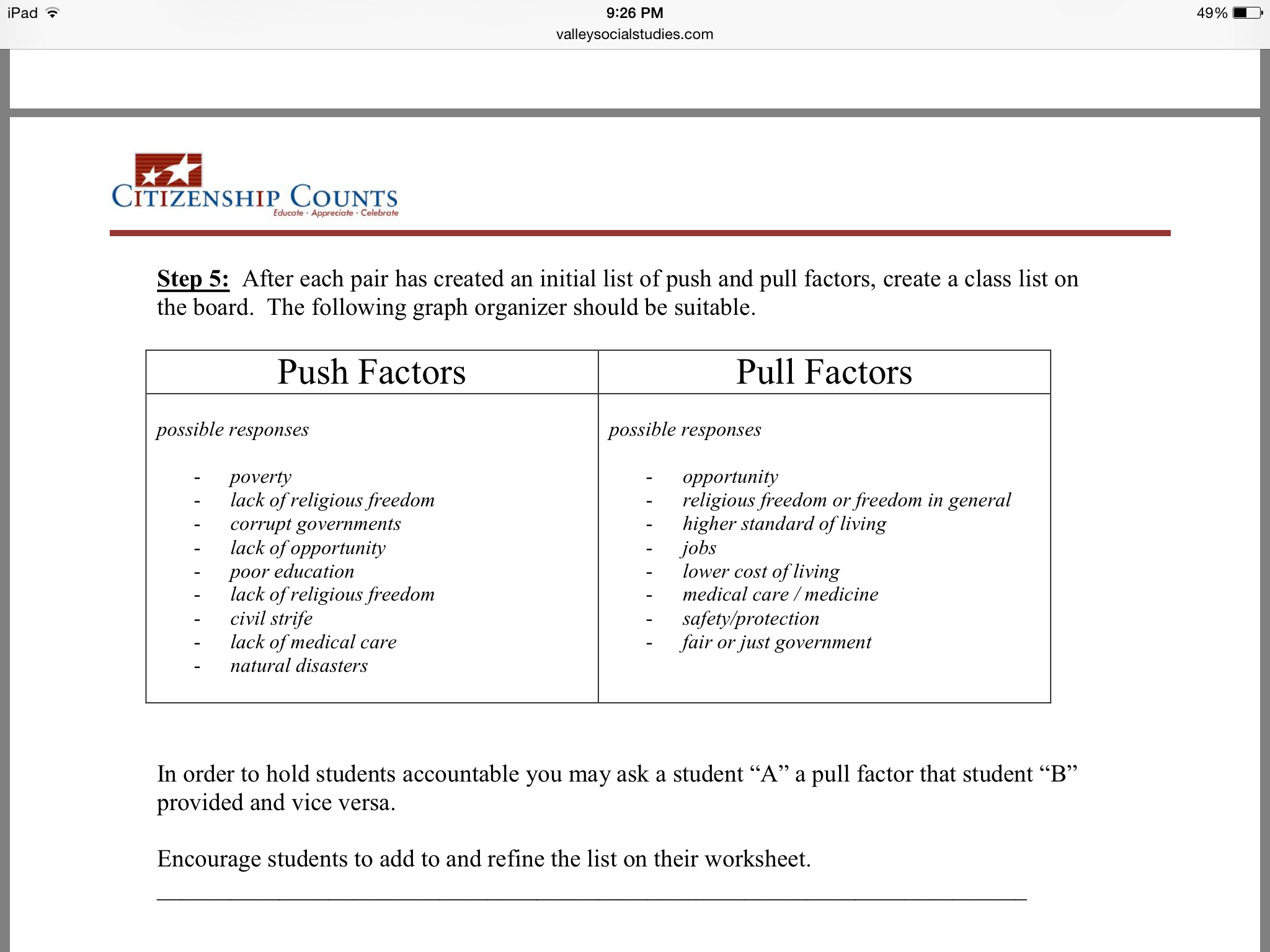Push And Pull Factors Worksheet The Best Worksheets Image