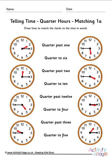 Quarter To Time Worksheets 738917