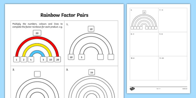 Rainbow Factor Pairs