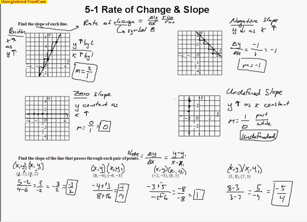 Rate Of Change Worksheet 5 1 Rate Of Change Slope Youtube Free