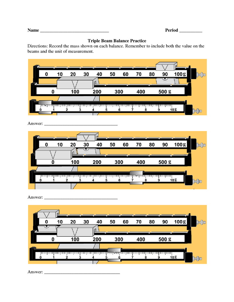 Reading A Triple Beam Balance Worksheet The Best Worksheets Image