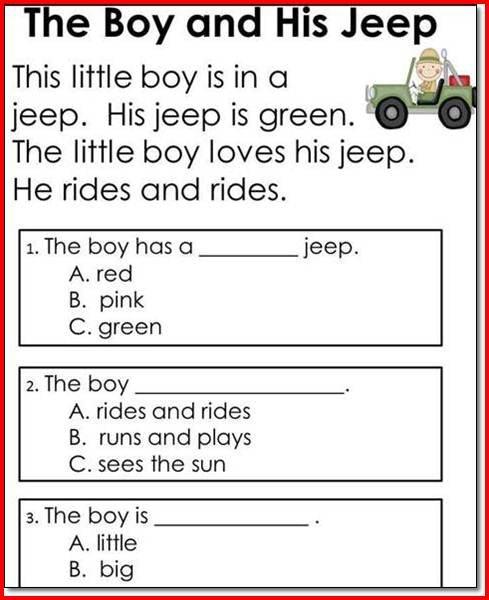 Reading Comprehension Worksheets Grade 1 246590
