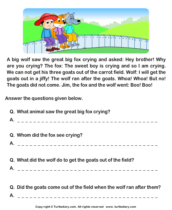 Reading Comprehension Worksheets Grade 1 246603