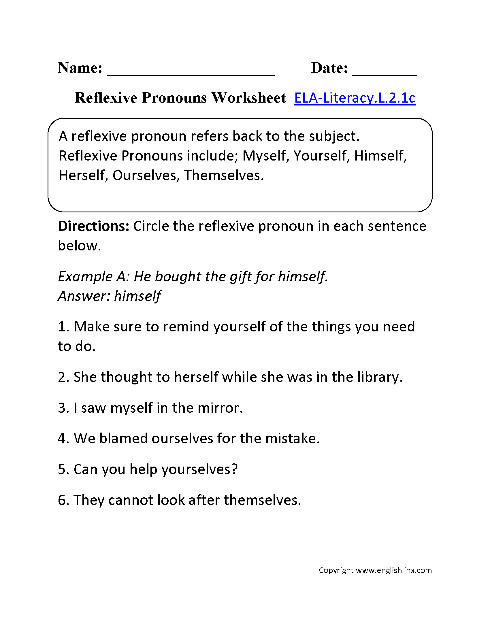 Reflexive Pronoun Worksheet 2nd Grade The Best Worksheets Image