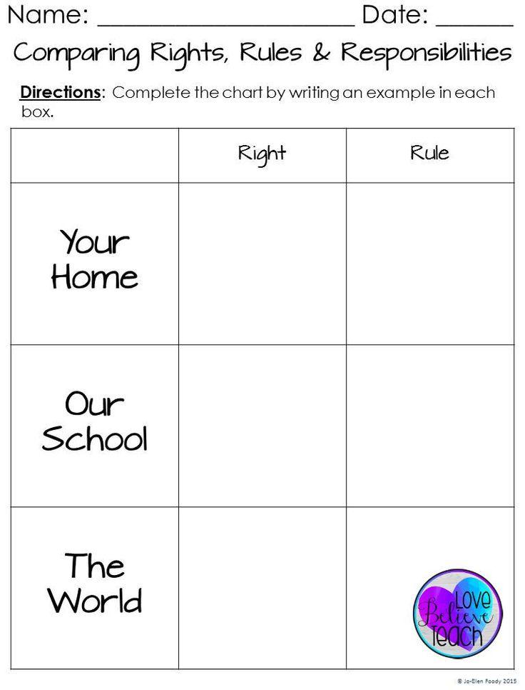 Responsibility Worksheets