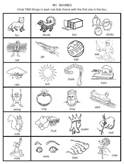 Rhyming Worksheets For Kindergarten The Best Worksheets Image