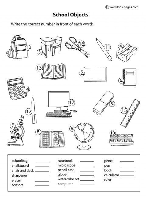 School Objects Worksheets For Kindergarten