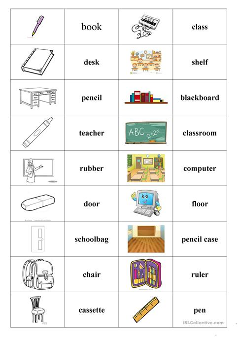 School Things (domino) Worksheet