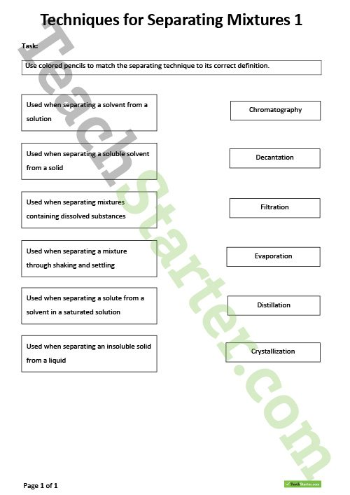Separation Of Mixtures Worksheet Techniques For Separating