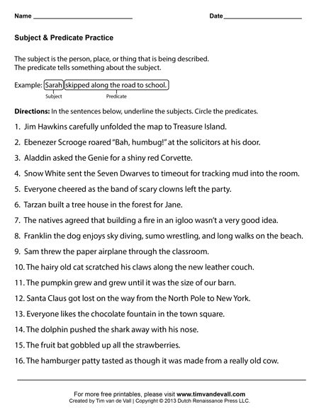 Simple And Complete Subject Worksheets The Best Worksheets Image