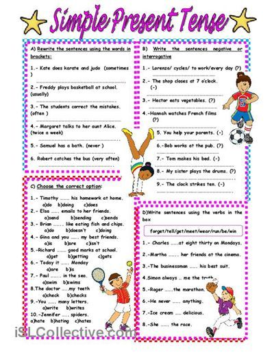 Simple Present Tense Exercises Worksheets