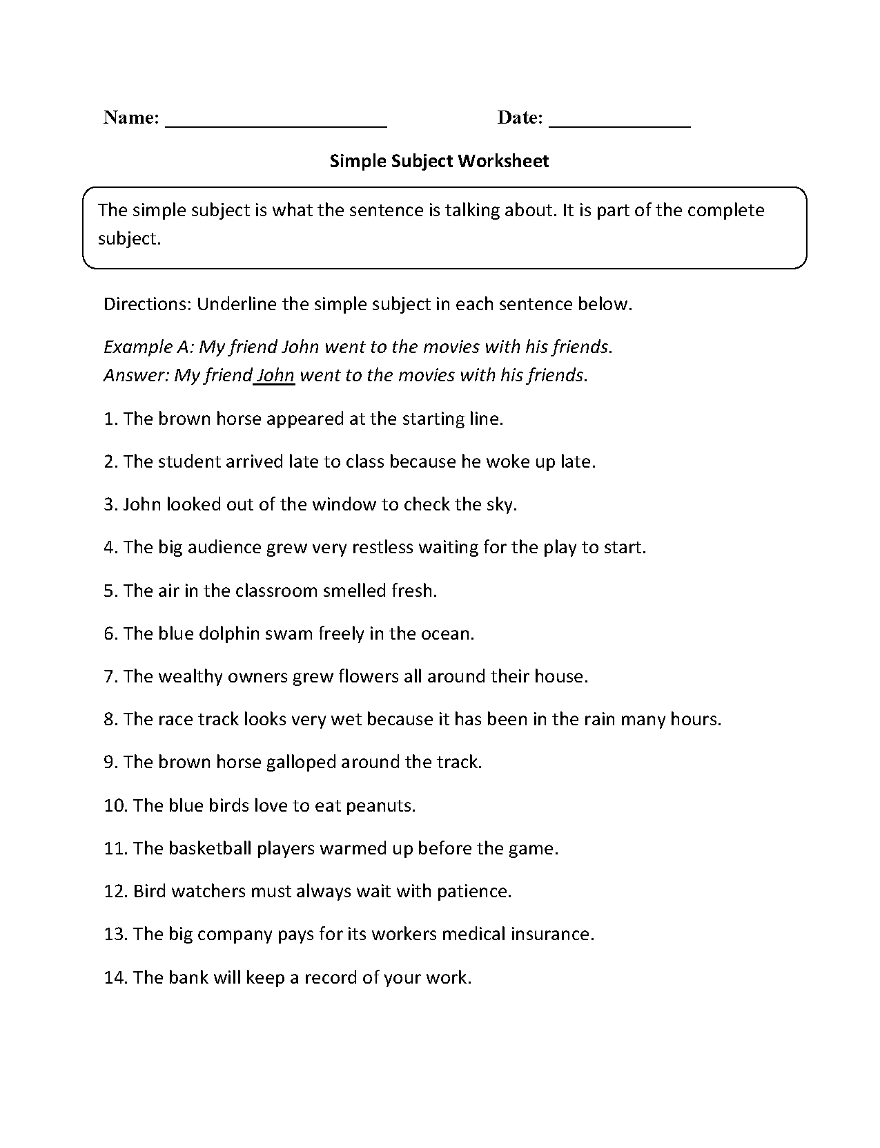 Simple Subject Worksheet The Best Worksheets Image Collection