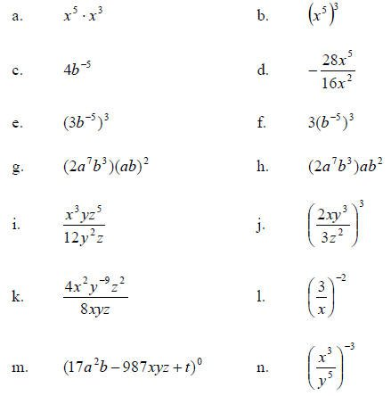 Simplifying Exponential Expressions Worksheets