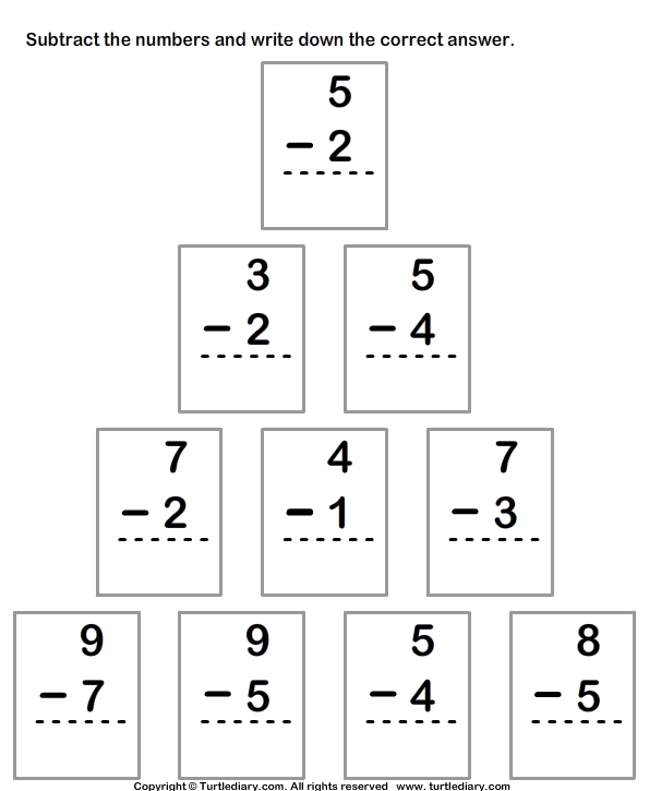 Single Digit Subtraction Within Ten Worksheet