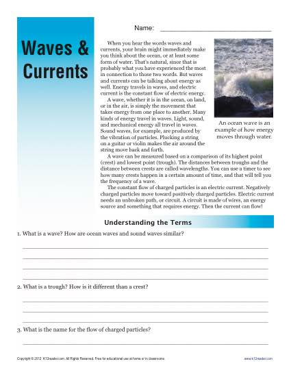Sixth Grade Reading Comprehension Worksheet