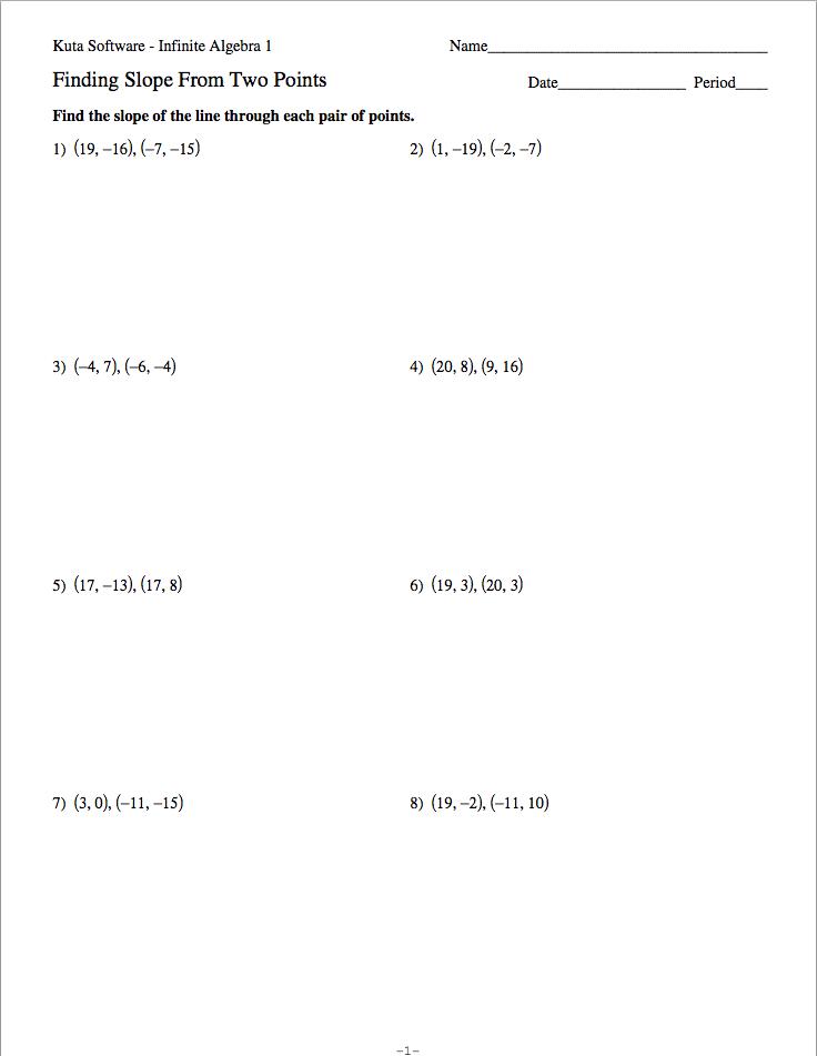 Slope Rate Of Change Worksheet Webmart Me