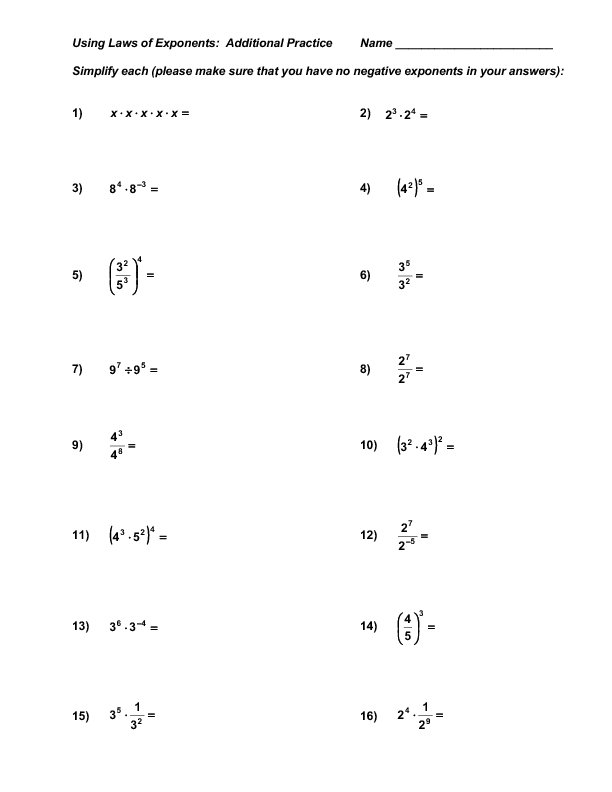 Solving Exponents Worksheets The Best Worksheets Image Collection