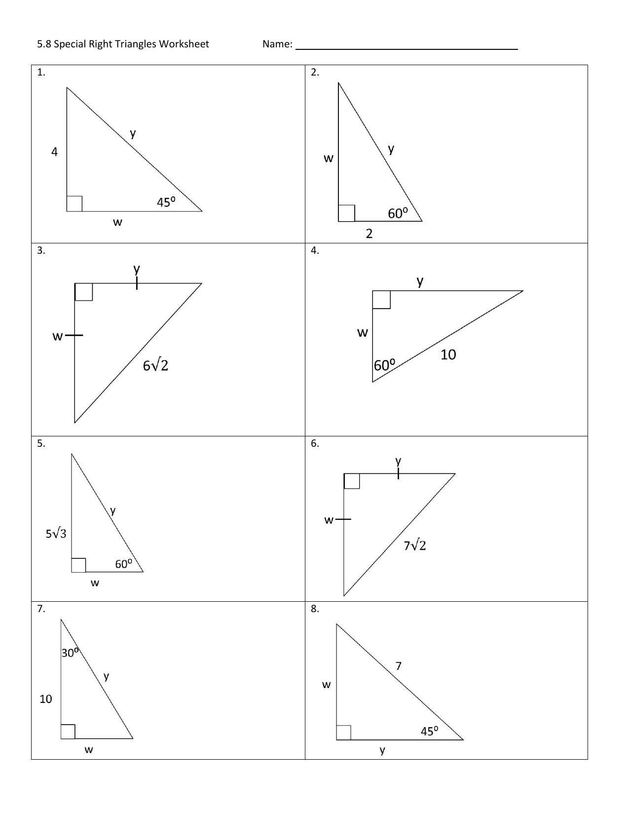 Solving Right Triangles Worksheet Printables