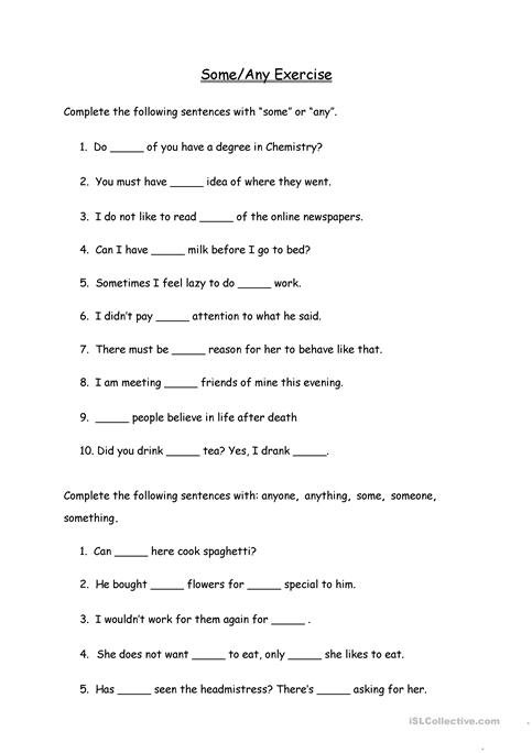 Some Any Exercise Worksheet