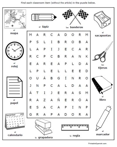 Spanish Classroom Objects Worksheets Puzzles Vocabulary Words Fun