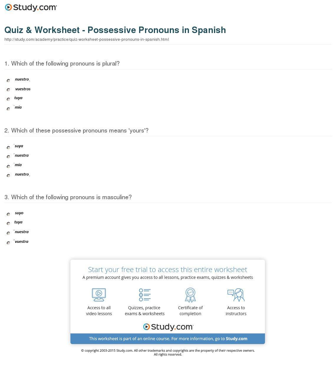 Spanish Possessive Pronouns Worksheet 53544