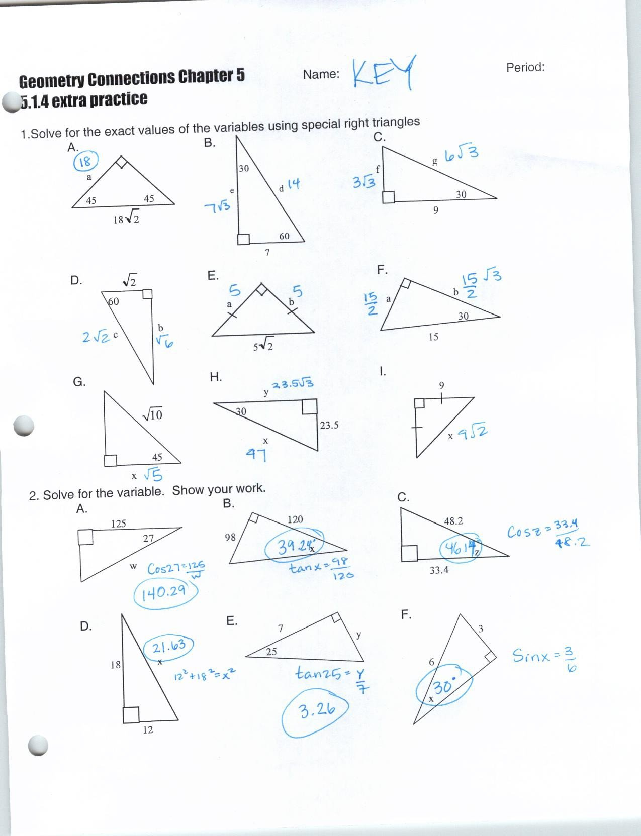 Special Right Triangles Worksheet 2