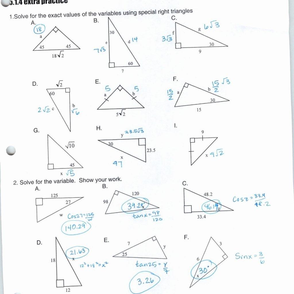 Special Triangles Worksheet Creative Representation 7 4 D Solving