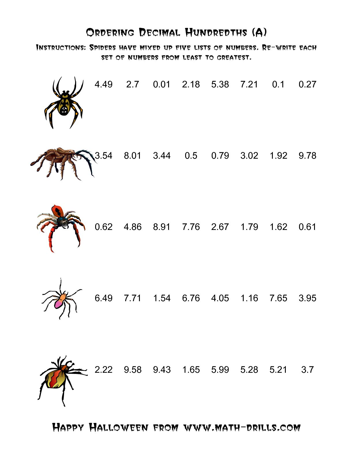 Spiders Ordering Decimal Hundredths A Numbers Worksheet Year 5